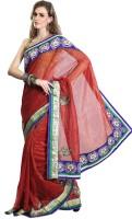 Cbazaar Floral Print Embroidered Embellished Cotton Sari