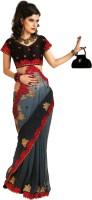 Chirag Sarees Self Design Embroidered Embellished Chiffon Sari