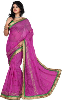 Apple Apple Printed Fashion Brasso Sari (Multicolor)