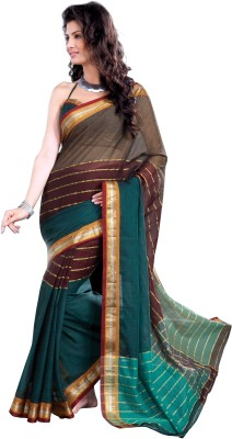 Ishin Solid, Floral Print Cotton Sari available at Flipkart for Rs.699