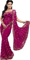 Deepika Solid Bollywood Chiffon Sari