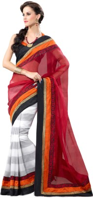 Fabdeal Striped Embroidered Embellished Net Sari available at Flipkart for Rs.5919