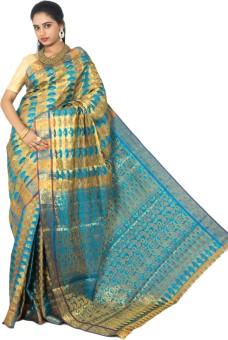 Alankrita Self Design Kanjivaram Silk, Art Silk, Jacquard, Chanderi, Nylon, Cotton, Banarasi Silk Sari