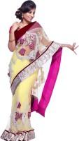 Cbazaar Floral Print Embroidered Embellished Net Sari