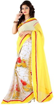 New Look Fashion Floral Print Bollywood Georgette Sari