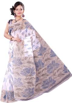 Vastrakala Floral Print Cotton Sari
