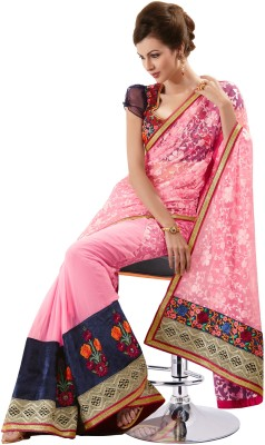 Fashionic Floral Print Embroidered Georgette, Net Sari