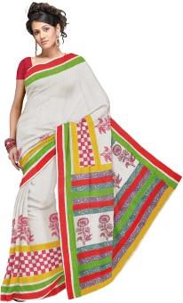 Fab Rajasthan Floral Print, Solid Kota Doria Handloom Cotton Sari
