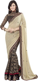 Infigo Fashion Self Design Embroidered Embellished Art Silk Sari