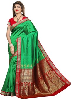 Shobha Sarees Self Design Bomkai Poly Silk Sari