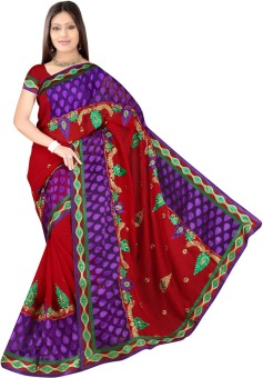 RDFAB Self Design Embroidered Embellished Georgette, Net Sari