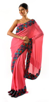 Shree Saree Kunj Self Design, Striped Embroidered Georgette Sari
