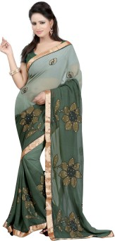 Bunny Sarees Solid Embroidered Embellished Georgette Sari