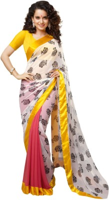 Fashion Priya Fashion Floral Print Bollywood Georgette Sari (Yellow)