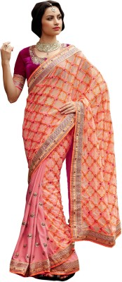 Elijaah Elijaah Self Design Fashion Handloom Chiffon Sari (Multicolor)