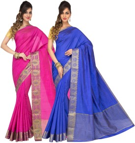 Radha Silk Emporium Printed Fashion Handloom Cotton Sari Pack Of 2