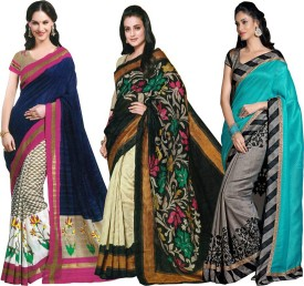 Sunita Sarees Striped Mysore Art Silk Sari Pack Of 3