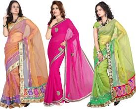 Silkbazar Self Design Embroidered Embellished Tissue Sari (Pack Of 3)