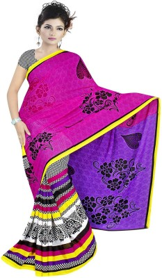 Art Silk Nj Fabric Printed Fashion Art Silk Sari (Multicolor)