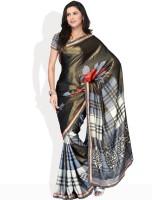Vichitra Checkered, Floral Print Synthetic Sari