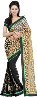 Bunny Sarees Floral Print Fashion Brasso Sari
