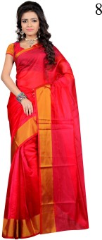 Red Apple Striped Bollywood Cotton Sari