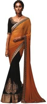 Suchi Fashion Solid, Self Design Fashion Georgette, Chiffon Sari