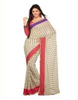 Aanara Geometric Print Chiffon Sari