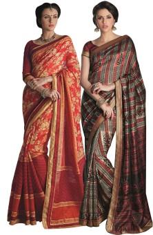 Aesha Printed Art Silk Sari (Pack Of 2)