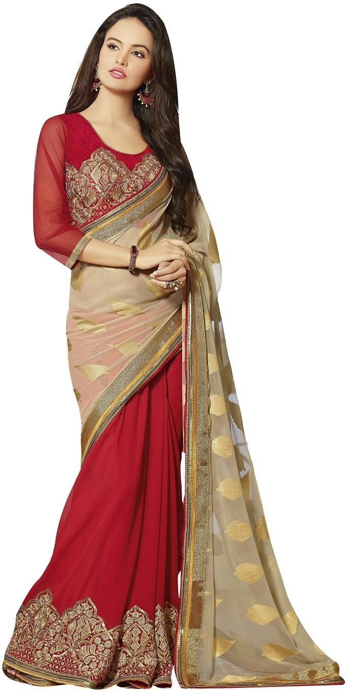 Aarti Saree Embriodered Fashion Georgette, Jacquard Sari