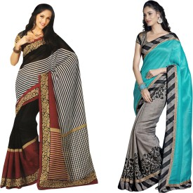 Bhavi Printed Fashion Art Silk Sari Pack Of 2