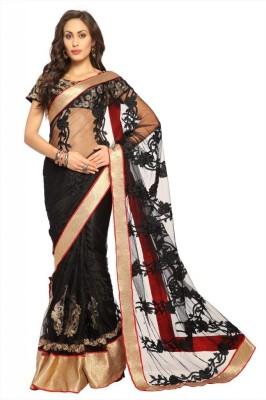 Designersareez Self Design Embroidered Embellished Net Sari