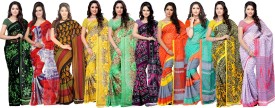 Ambaji Printed, Floral Print, Striped, Printed Daily Wear Georgette, Chiffon Sari Pack Of 10