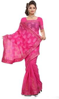 Hemakshi Self Design Embroidered Embellished Jacquard, Chiffon Sari