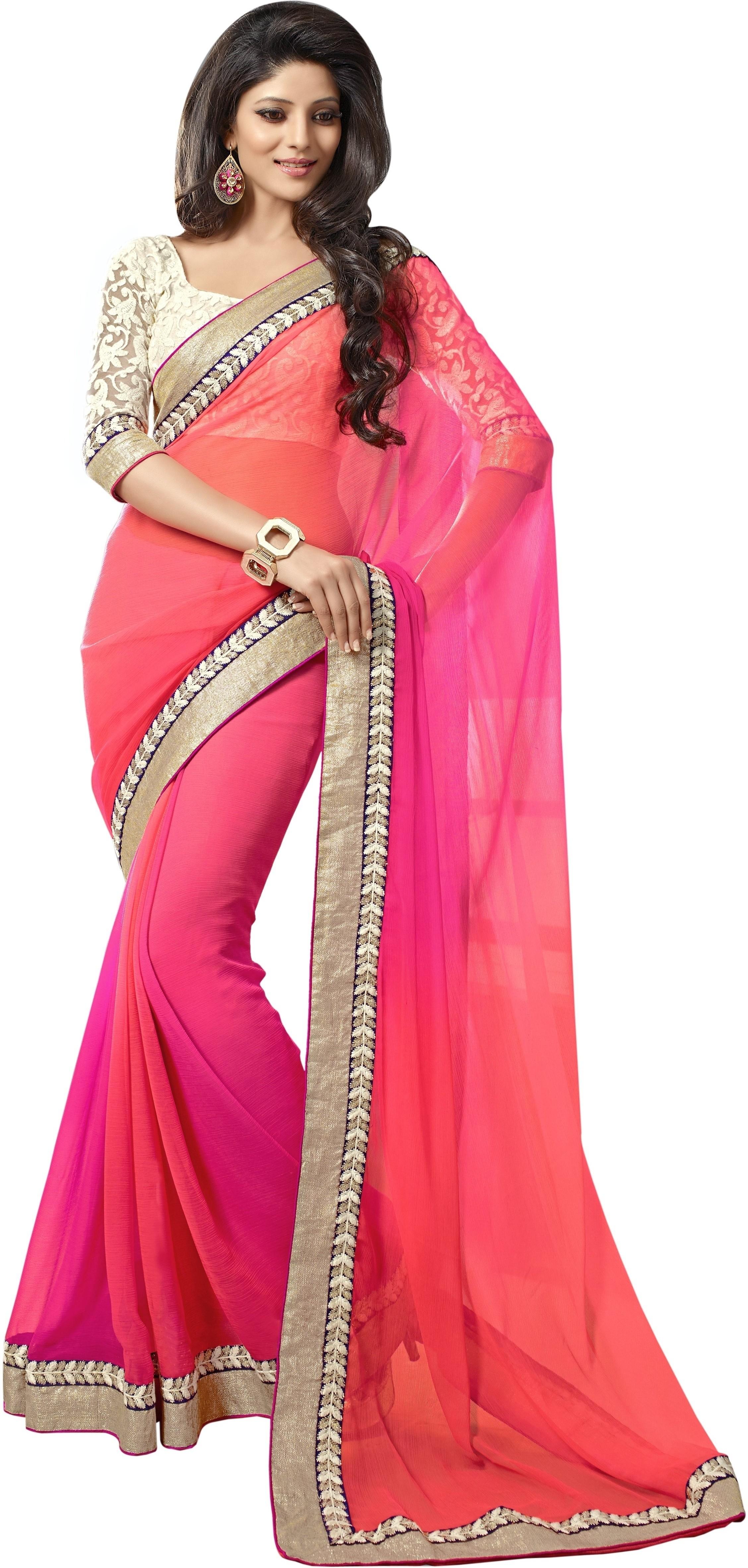Gehna Saree Self Design Fashion Georgette Sari - Buy Pink ...