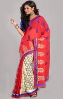 Aparnaa Printed Embroidered Embellished Tissue, Chiffon Sari