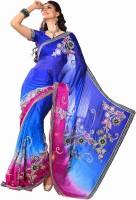 Ashika Printed Embroidered Embellished Chiffon, Jacquard Sari