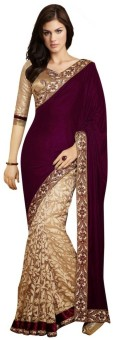 Nanda Silk Mills Self Design Fashion Velvet, Brasso Sari