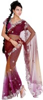 Cbazaar Printed Embroidered Embellished Net Sari