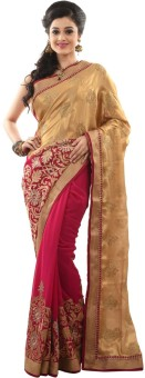 Sangam Kolkata Solid Fashion Chiffon Sari