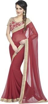Palav Fabrics Embriodered, Plain, Embellished, Printed, Floral Print Fashion Chiffon Sari Red