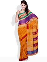 Satrang Floral Print, Geometric Print Synthetic Sari