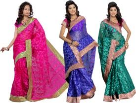 Silkbazar Self Design Embroidered Embellished Jacquard Sari (Pack Of 3)