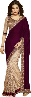 Googlee Solid, Applique, Paisley, Striped, Checkered, Embellished, Embriodered, Self Design Bollywood Velvet, Net, Cotton Linen Blend Sari Brown, Beige