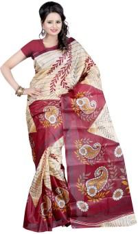 Moon Sarees Printed Ikkat Handloom Art Silk Sari