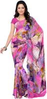 Fabdeal Floral Print Georgette Sari