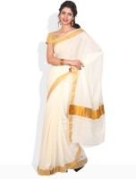 Ennthra Floral Print, Geometric Print, Striped Cotton Sari