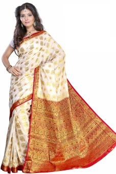 Alankrita Self Design Kanjivaram Silk, Art Silk, Jacquard, Nylon, Banarasi Silk Sari