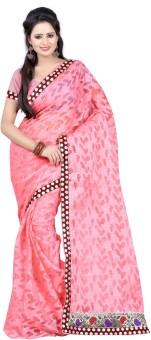 Kajal Sarees Self Design, Printed Embellished Brasso Sari