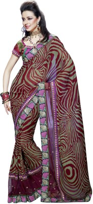 Fabdeal Printed Embroidered Embellished Net, Georgette Sari available at Flipkart for Rs.4869